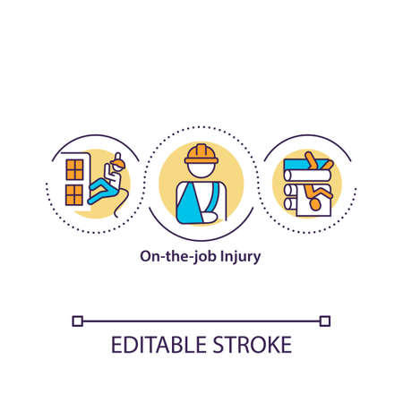 On-the-job injury concept icon. Work-related illness. Protection income. Workers compensation idea thin line illustration. Vector isolated outline RGB color drawing. Editable stroke.