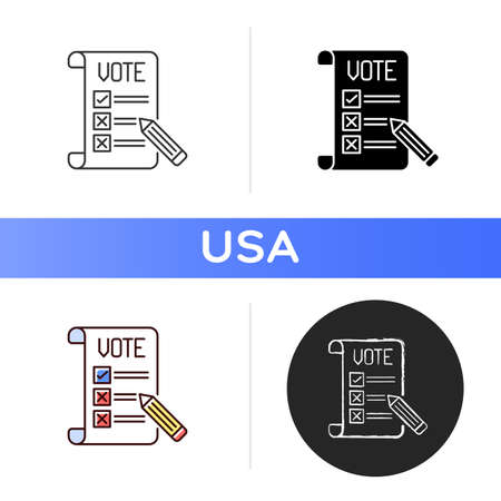Voting ballot icon. Collective decision. Participation in democratic process. General election. Making voice heard. Filling out ballot. Linear black and RGB color styles. Isolated vector illustrations