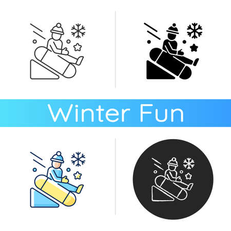 Snow tubing icon. Fun children ride downhill. Extreme sledging. Winter activity. Festive season recreation for kids. Linear black and RGB color styles. Isolated vector illustrations