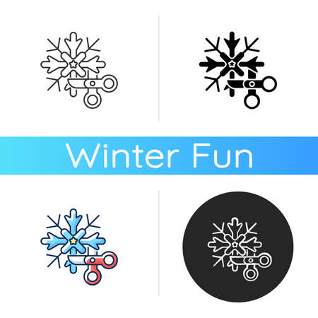 DIY snowflakes icon. Do it yourself. Festive seasonal decoration. Craft ornament for Christmas. New Year children activity. Linear black and RGB color styles. Isolated vector illustrations