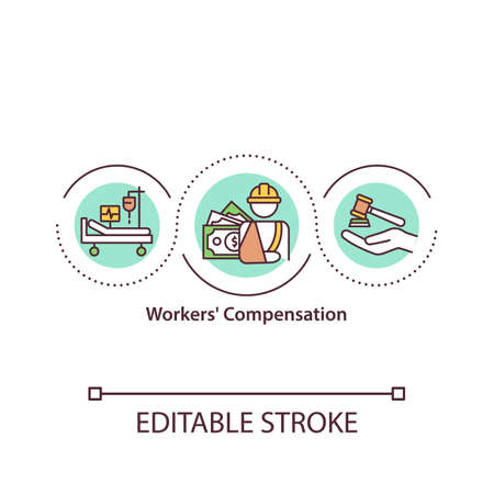 Workers compensation concept icon. Medical benefits to employees. On-the-job injury idea thin line illustration. Vector isolated outline RGB color drawing. Editable stroke. Vetores