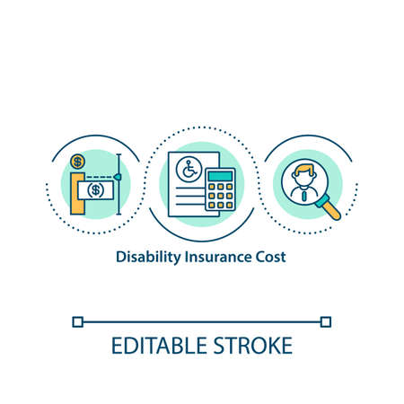 Disability insurance cost concept icon. Short and long term coverage. Calculate monthly premiums idea thin line illustration. Vector isolated outline RGB color drawing. Editable stroke. Illusztráció