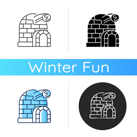 Snow fort icon. Ice construction. Arctic igloo, icehouse. Winter season building. Frozen fortress. Christmastide shelter. Linear black and RGB color styles. Isolated vector illustrations Иллюстрация