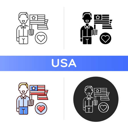 Patriotism icon. American flag appearance. Pride and unity symbol. Uncle Sam. Star-spangled banner. Official national anthem. Linear black and RGB color styles. Isolated vector illustrations Vector Illustration