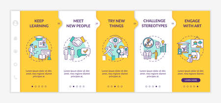 Boosting creative thinking tips onboarding vector template. Keep learning something new everyday. Meet people. Responsive mobile website with icons. Webpage walkthrough step screens. RGB color concept