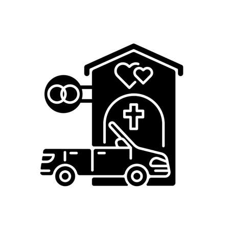 Drive through marriage chapel black glyph icon. Small church for wedding. Car for newlyweds. Marry in Las Vegas. Romantic honeymoon. Silhouette symbol on white space. Vector isolated illustration