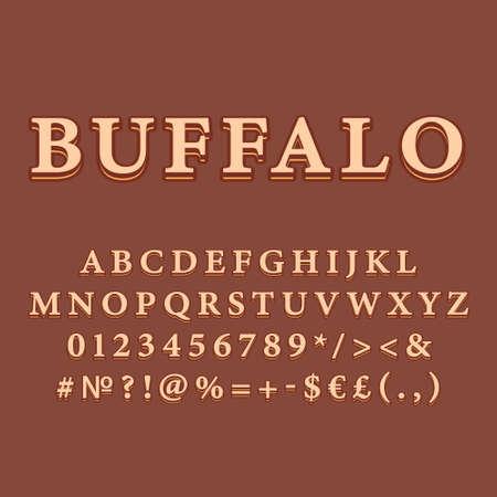 Buffalo vintage 3d vector alphabet set. Retro bold font, typeface. Pop art stylized lettering. Old school style letters, numbers, symbols pack. 90s, 80s creative typeset design template 矢量图像