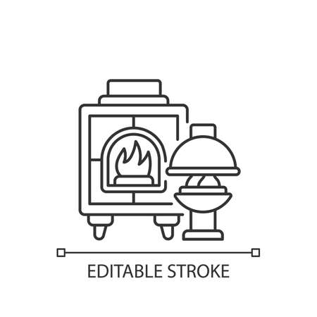 Fireplaces linear icon. Wood burning stoves. Heating home. Warm and cozy style. Thin line customizable illustration. Contour symbol. Vector isolated outline drawing. Editable stroke