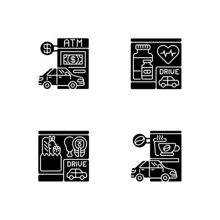 Car in drive in black glyph icons set on white space. ATM terminal. Bank service. Pharmacy store. Convenient drugstore. Grocery, coffee shop. Silhouette symbols. Vector isolated illustration