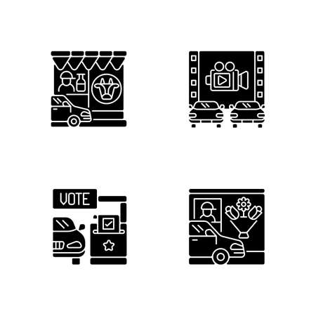 Drive in services black glyph icons set on white space. Dairy store. Milk supermarket. Movie theater. Vote booth. Flower shop. Drive through lane. Silhouette symbols. Vector isolated illustration
