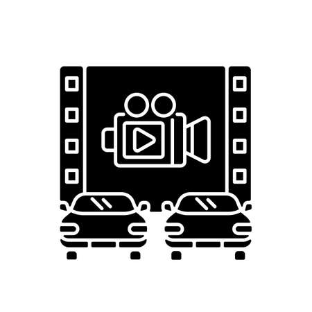 Drive through movie theater black glyph icon. Film on large screen. Cars in outdoors cinema. Watch video from transport lane. Silhouette symbol on white space. Vector isolated illustration