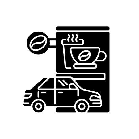 Drive through coffee shop black glyph icon. Transport lane for store customer. Coffeeshop order from driver. Convenient espresso bar. Silhouette symbol on white space. Vector isolated illustration