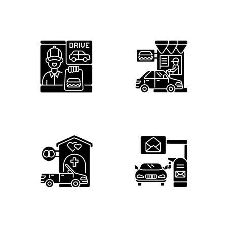 Car in drive thru lane black glyph icons set on white space. Fast food restaurant window. Chapel for wedding. Convenience mailbox for driver. Silhouette symbols. Vector isolated illustration Çizim