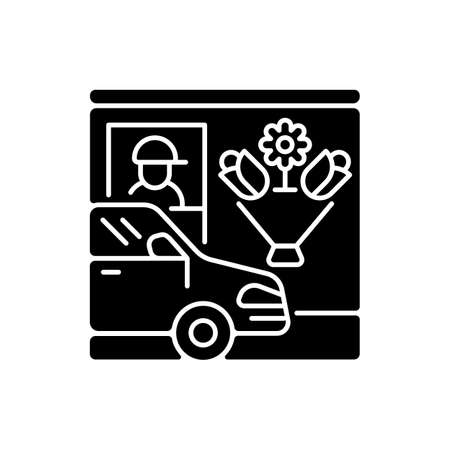 Drive through flower shop black glyph icon. Florist services. Store with transport lane. Express delivery. Plant seller. Silhouette symbol on white space. Vector isolated illustration