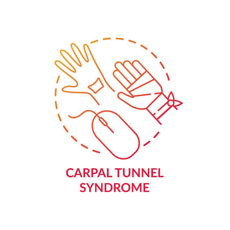 Carpal tunnel syndrome concept icon. Occupational sickness. Health issues because of everyday office sitting life idea thin line illustration. Vector isolated outline RGB color drawing