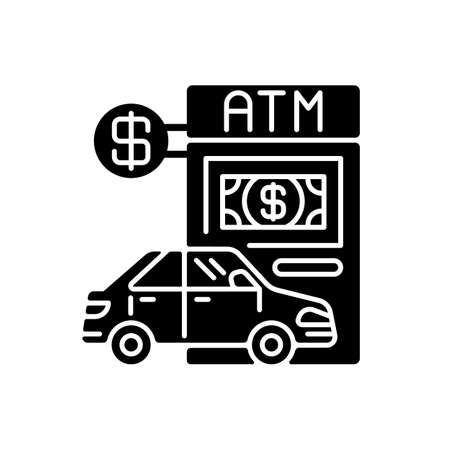Drive through ATM black glyph icon. Bank services. Transport lane to terminal. Automated machine. Financial checkout for drive. Silhouette symbol on white space. Vector isolated illustration