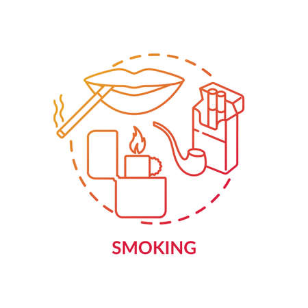 Smoking concept icon. Insurance cost factors. Bad habbit makes price of medicine bigger. Huge cost of treatment idea thin line illustration. Vector isolated outline RGB color drawing