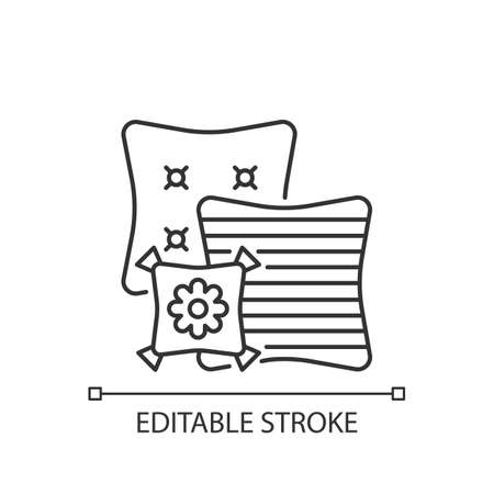 Decorative pillows linear icon. Extras to the living room sofa. Aesthetic and functional purpose. Thin line customizable illustration. Contour symbol. Vector isolated outline drawing. Editable stroke