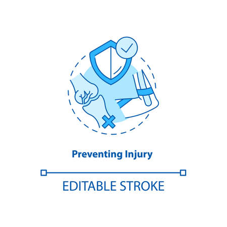 Prevent injury turquoise concept icon. Health insurance. Physical treatment. Anatomical structure. Kinesiology idea thin line illustration. Vector isolated outline RGB color drawing. Editable stroke