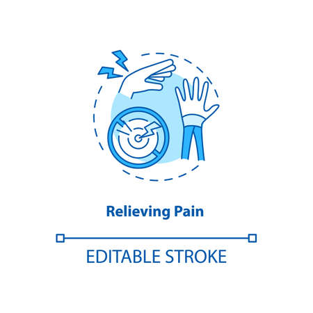 Relieve pain turquoise concept icon. Injury recovery. Inflammation point in body. Reduce sprain. Kinesiology idea thin line illustration. Vector isolated outline RGB color drawing. Editable stroke