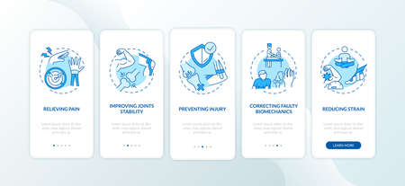 Muscle pain relieve blue onboarding mobile app page screen with concepts. Kinesiology treatment walkthrough 5 steps graphic instructions. UI vector template with RGB color illustrations Vector Illustratie
