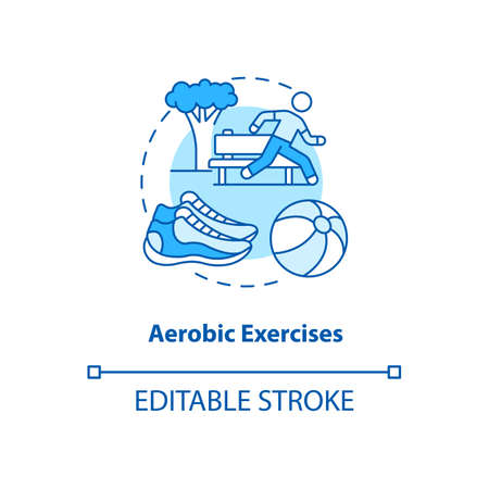 Aerobics exercise turquoise concept icon. Sport workout. Fitness training. Running outdoors. Kinesiology idea thin line illustration. Vector isolated outline RGB color drawing. Editable stroke