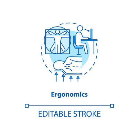 Ergonomics turquoise concept icon. Body anatomy. Physical health. Comfortable workplace. Kinesiology idea thin line illustration. Vector isolated outline RGB color drawing. Editable stroke Stock Illustratie
