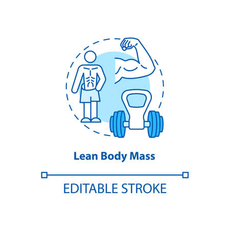 Lean body mass turquoise concept icon. Fit athlete. Sport training. Body care and wellness. Kinesiology idea thin line illustration. Vector isolated outline RGB color drawing. Editable stroke