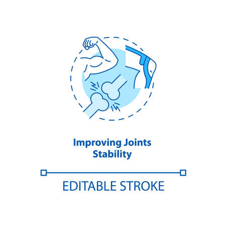 Improve joint stability turquoise concept icon. Body movement and position. Physiology treatment. Kinesiology idea thin line illustration. Vector isolated outline RGB color drawing. Editable stroke Stock Illustratie