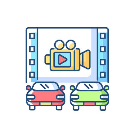 Drive through movie theater RGB color icon. Film on large screen. Cars in outdoors cinema. Watch video from transport lane. Audience outdoors. Night entertainment. Isolated vector illustration Illustration