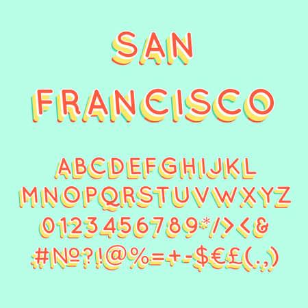 San Francisco vintage 3d vector alphabet set. Retro bold font, typeface. Pop art stylized lettering. Old school style letters, numbers, symbols pack. 90s, 80s creative typeset design template Ilustrace