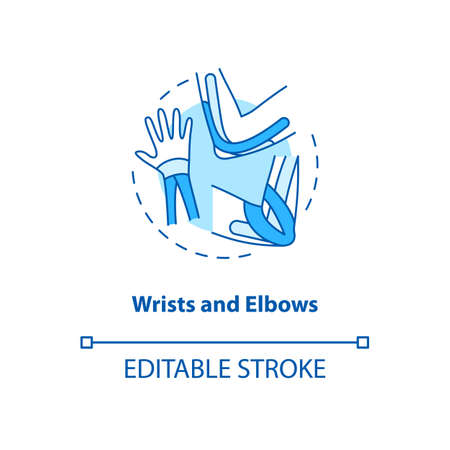 Wrists and elbows turquoise concept icon. Hand muscle care. Physical treatment. Prevent injury. Kinesiology tape idea thin line illustration. Vector isolated outline RGB color drawing. Editable stroke