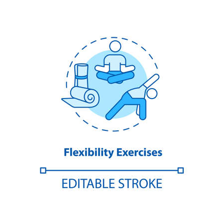 Flexibility exercises turquoise concept icon. Stretching workout. Body wellness. Yoga pose. Kinesiology idea thin line illustration. Vector isolated outline RGB color drawing. Editable stroke