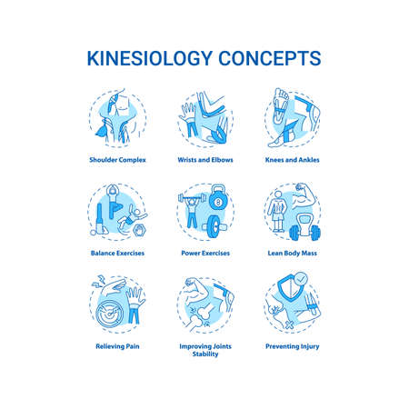 Kinesiology concept turquoise icons set. Aerobics exercise. Sports workout. Human body movement. Health care idea thin line RGB color illustrations. Vector isolated outline drawings. Editable stroke Stock Illustratie