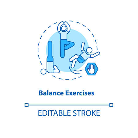 Balance exercise turquoise concept icon. Yoga position. Body care and health. Fitness training. Kinesiology idea thin line illustration. Vector isolated outline RGB color drawing. Editable stroke Stock Illustratie