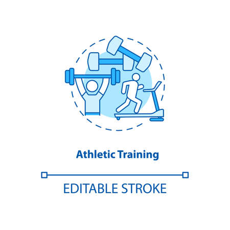 Athletic exercise turquoise concept icon. Gym workout. Train on treadmill. Weight lifting. Bodycare. Kinesiology idea thin line illustration. Vector isolated outline RGB color drawing. Editable stroke