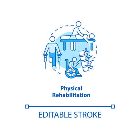 Physical rehabilitation turquoise concept icon. Physiology therapist. Trauma recovery. Kinesiology idea thin line illustration. Vector isolated outline RGB color drawing. Editable stroke Stock Illustratie