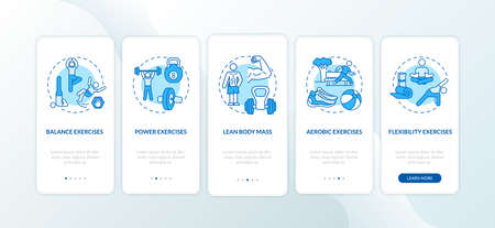 Exercises blue onboarding mobile app page screen with concepts. Aerobics workout. Physical health walkthrough 5 steps graphic instructions. UI vector template with RGB color illustrations Stock Illustratie