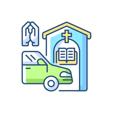 Drive through prayer booth RGB color icon. Car near small church. Chapel services for driver. Religious confession. Christianity, catholicism. Religion and spirituality. Isolated vector illustration