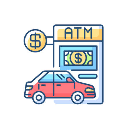 Drive through ATM RGB color icon. Bank services. Transport lane to terminal. Automated machine to withdraw cash. Financial checkout for driver in transport. Isolated vector illustration
