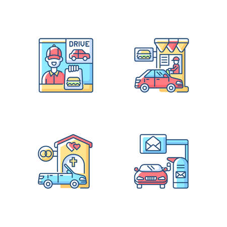 Car in drive thru lane RGB color icons set. Fast food takeaway. Burger for takeout. Restaurant window. Chapel for wedding. Convenience mailbox for driver. Isolated vector illustrations