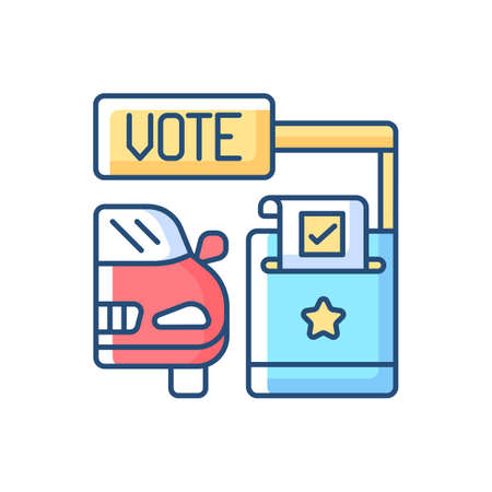Drive through voting booth RGB color icon. Express election service. Polling station. Driver voter in car. Transport lane. American democracy. Politics service. Isolated vector illustration