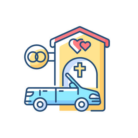 Drive through marriage chapel RGB color icon. Small church for speed wedding. Car for newlyweds. Marry in Las Vegas. Romantic honeymoon after fast engagement. Isolated vector illustration