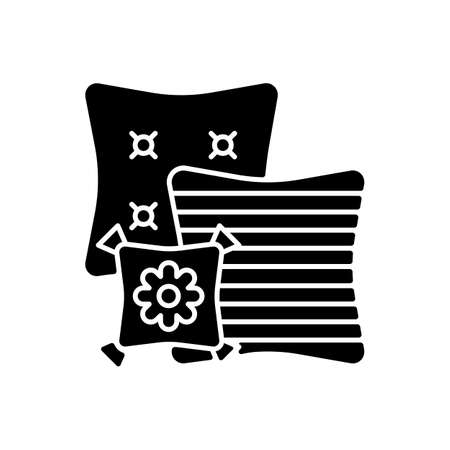 Decorative pillows black glyph icon. Extras to the living room sofa. Aesthetic and functional purpose. Home decor and interior design. Silhouette symbol on white space. Vector isolated illustration