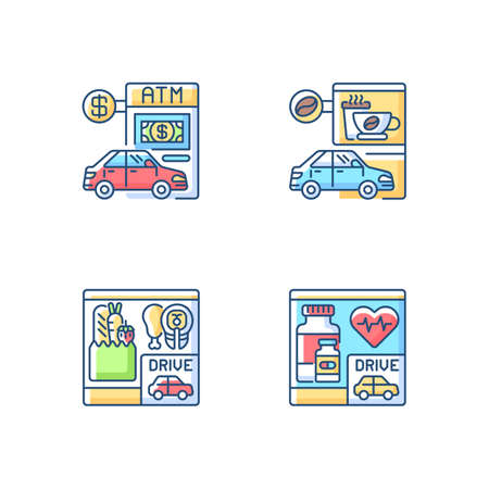 Car in drive in RGB color icons set. ATM terminal. Bank service. Pharmacy store. Convenient drugstore. Grocery food for take out. Coffee shop take away. Isolated vector illustrations