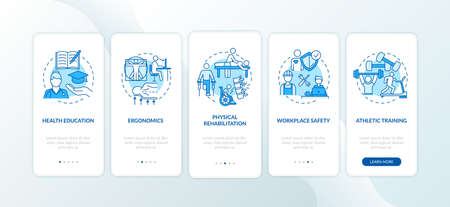 Health education blue onboarding mobile app page screen with concepts. Ergonomic workplace. Kinesiology walkthrough 5 steps graphic instructions. UI vector template with RGB color illustrations Stock Illustratie