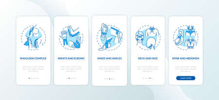 Muscle complex blue onboarding mobile app page screen with concepts. Body health. Kinesiology tape walkthrough 5 steps graphic instructions. UI vector template with RGB color illustrations