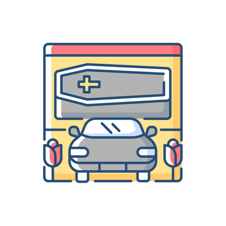 Drive through funeral home RGB color icon. Bury coffin. Ritual transportation. Memorial ceremony on cemetery. Rest in peace. Mourning for deceased. Car for service. Isolated vector illustration