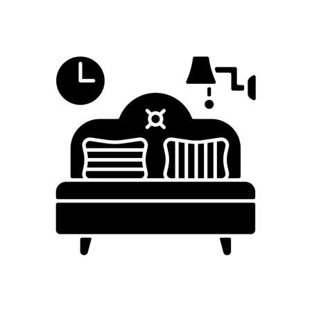 Bedroom furniture black glyph icon. Bedding. Home furnishings. Bed and mattress. Interior design. Balanced artificial lighting. Silhouette symbol on white space. Vector isolated illustration