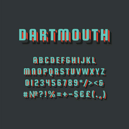 Dartmouth vintage 3d vector alphabet set. Retro bold font, typeface. Pop art stylized lettering. Old school style letters, numbers, symbols pack. 90s, 80s creative typeset design template